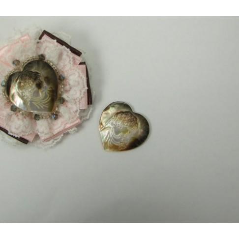 KA-6005 Kamėja, natūralios kriauklės, širdelė, 30x30mm