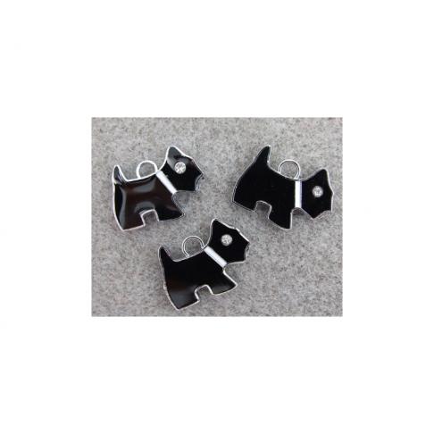 7-PAK2016 Pakabukas Šuniukas-Jorkiukas, 20x16mm, su kristalo aku