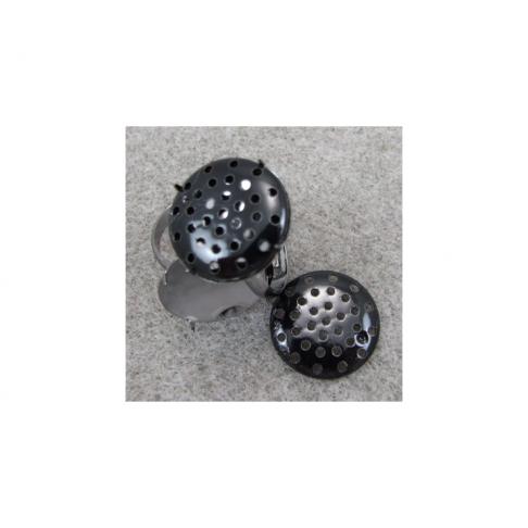 JUOD-ZS961 Juodas žiedas su diskeliu 18mm, dydis reguliuojasi