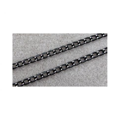 JUOD-GR1637 Grandinėlė, juoda su sid. sp. raižymais, 8.5x6mm, kaina už 50cm
