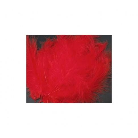 PLUNKS-RA6 Stručio plunksna-pūkas, 10-14cm, už 4-5 vnt. raudona