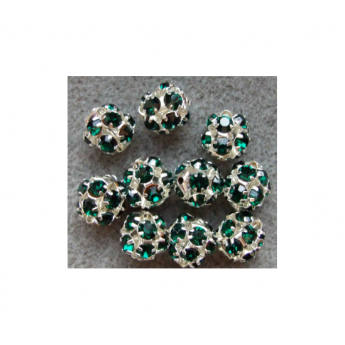 KR-07145  karoliukas su kristalo akutėmis, 12mm, žalias