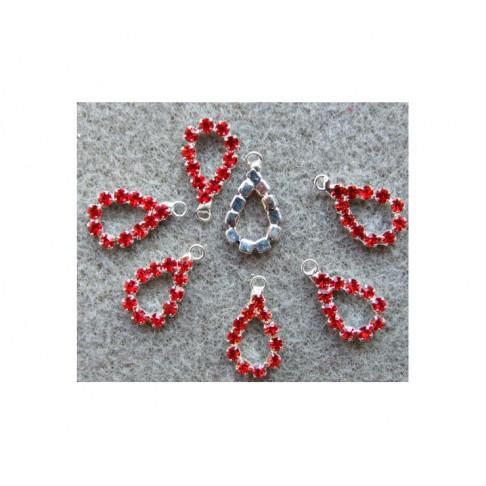 """KR-PK09619 Pakabukas su kristalo akutėm, raudonos sp., """"Lašelis"""", 19x11mm"""