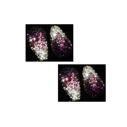 KR-PSK1041 pusiau gręžti kristalo lašeliai, 20x12mm, violet-balta, kaina už 2 vnt.