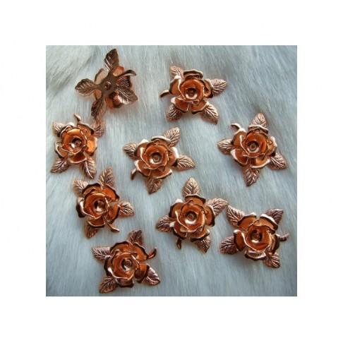ROZ-AUK4522 Rožinio aukso kepurėlė-detalė, 20x18mm