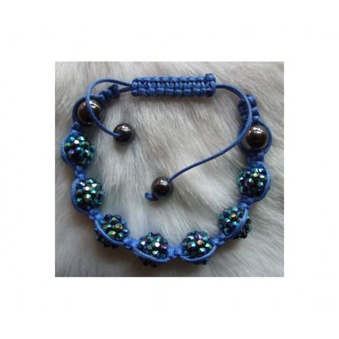 Shamballa-07 Apyrankė, hematito ir akriliniu 10mm karoliukų, AB mėlynai-žalia