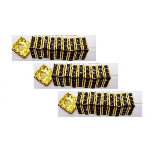 KR-JNT1 Aukso sp., intarpas su kristalo alyvinėm akutėm, 6x2.5mm,