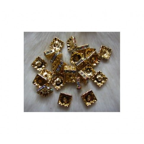 AUK-9868 Intarpas , keturkampis, AB kristalo akutėm, 10mm