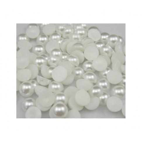 KAB-AKR0005  Akrilinis perliuko kabošonas, 9mm, baltas