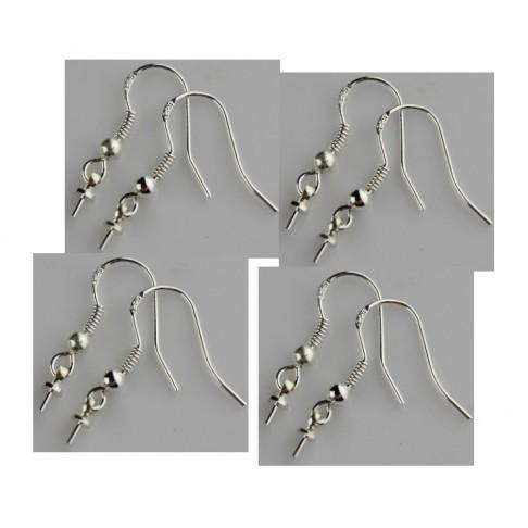 SID-AA671 Sidabruoti kabliukai auskarams, pusiau gręžtiems karoliukams