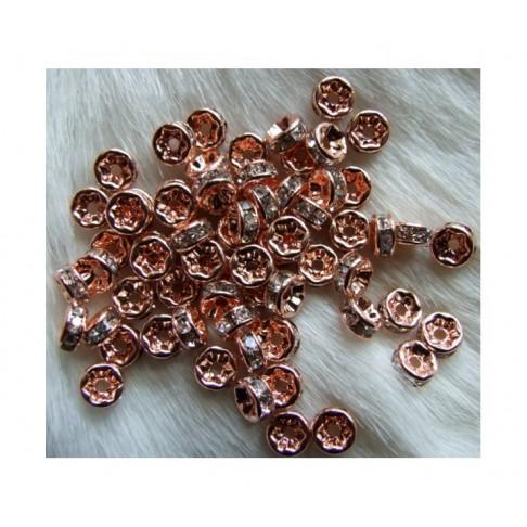 AROZ-5582 Rožinio aukso sp., intarpas su kristalo akutėm, 6mm