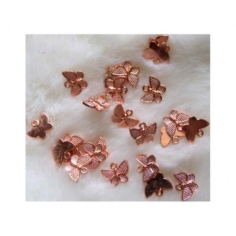 """ROZ-AUK10725  Rožinio aukso pakabukas, """"Drugelis"""", 13x10mm"""