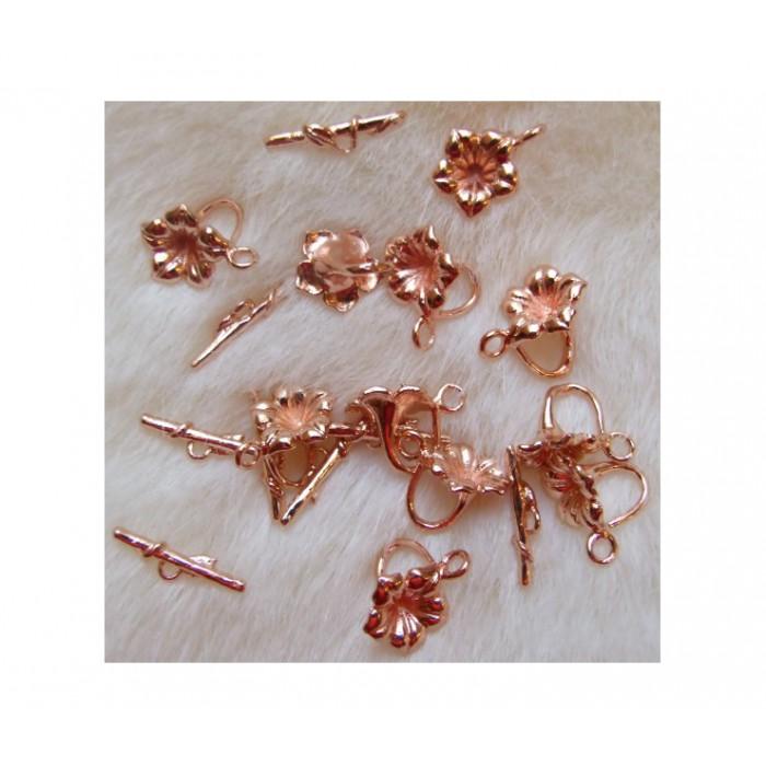 ROZ-AUK1521 Užsegimas rožinio aukso, 12x15mm
