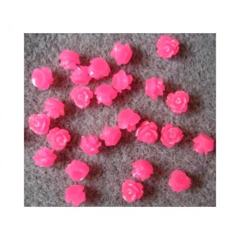 """RR1-5 Akrilinė gėlytė kabošonas, """" Maža Rožytė"""" , 7mm, AVIETINĖ"""
