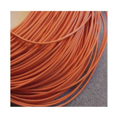 V-NT5099 Natūralios odos virvutė, 2mm, ORANŽINĖ, kaina už 50 cm