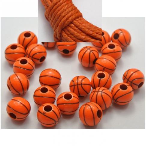 """AKR-KS2012 Akrilinis karoliukas, """" Krepšinio kamuolys"""", 12mm, ORANŽINIS"""