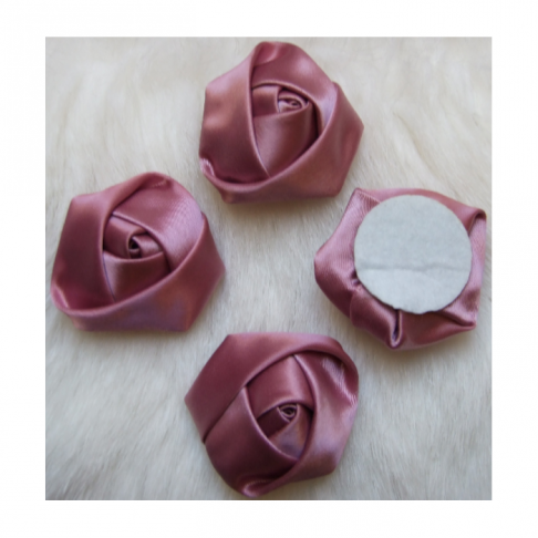 B-KB3354  Satino rožytė, 3-3.5cm, Vintaž rausva