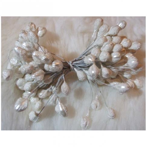 G-K5810  Gėlių kuokeliai, galvutė apie 6-10mm,  balta sp.  už 1 giją
