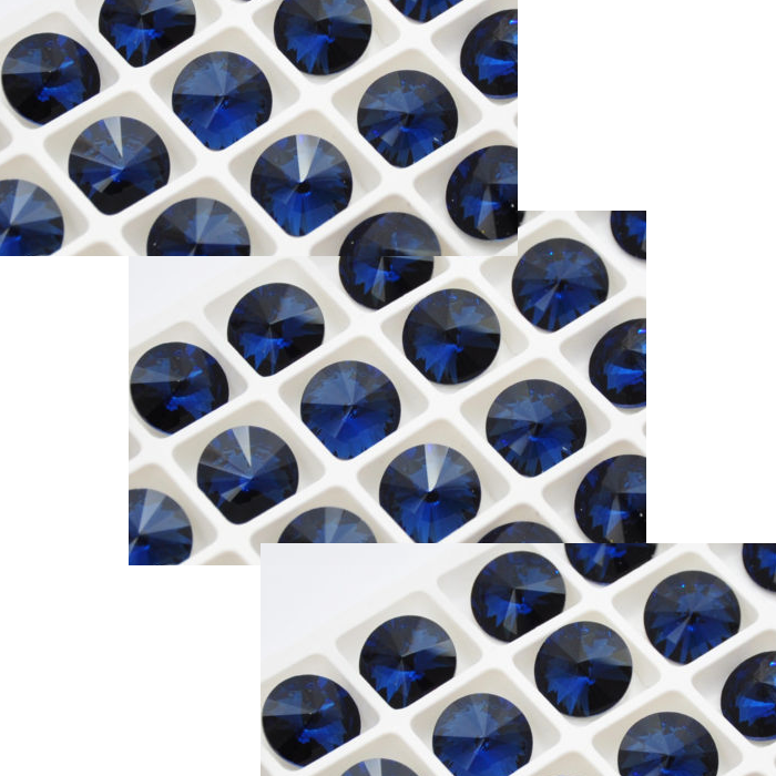 K-A27741  Rivoli akutė, kristalo, 14mm. Montano mėlyna sp.