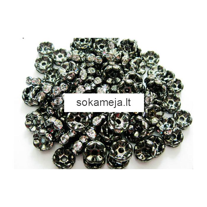 JUOD-221 Intarpas, rondelė  su kristalo akutėm, 4mm