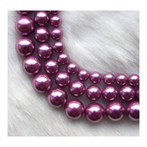 PERL-6972 Kriauklės perliukas 10mm, violetinės spalvo