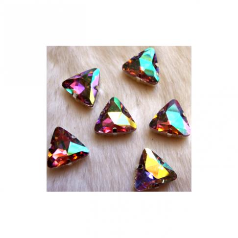 B klasė- 181 Intarpas-detalė, 18mm, trikampis, kristalo AB sp.