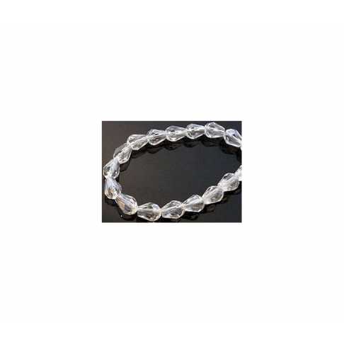 KR-80556 Kristalas lašelio formos, 8x6mm, skaidrus su efektu