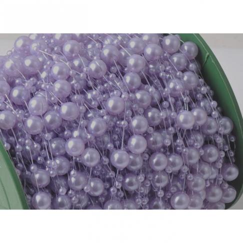 G-882  Perliukų, akriliniu, girlianda, 8mm perliukų plotis, Ilgis 2.5mm, šv. ALYVINĖ