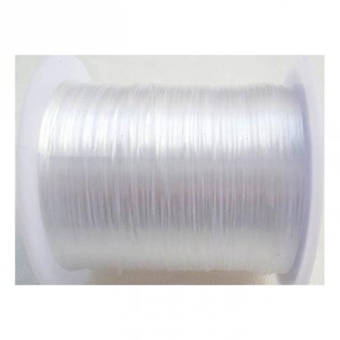 G-0081 Elastinis siūlas, 1mm, už ruloną apie 60m,  SKAIDRI-balta