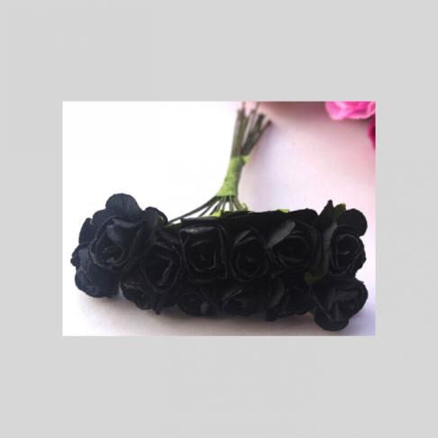 MR-R15S Mulberry popierinės gėlytės, 1-1.5 cm, 12 vnt., JUODOS