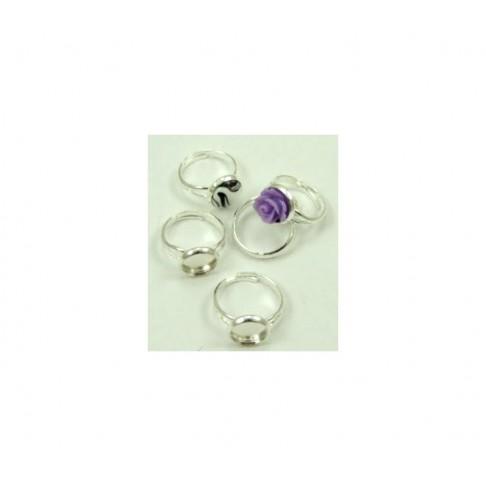 SID-11529 Žiedas dengtas sidabru, 10mm kabošonas, dydis reguliuojasi