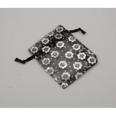 30-7912 Organzos maišelis, 9x7mm, juodas su sidabro sp. gėlikėm
