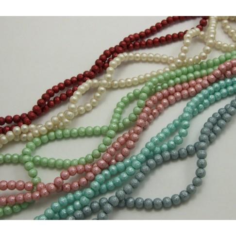 64513 Perliukas stikl, dekor., 6mm, žalsvas