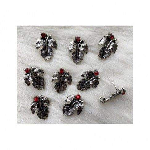 """7-99713 Auskarams, """"Lapeliai"""", 15mm, su raudonom kristalo akutėm"""