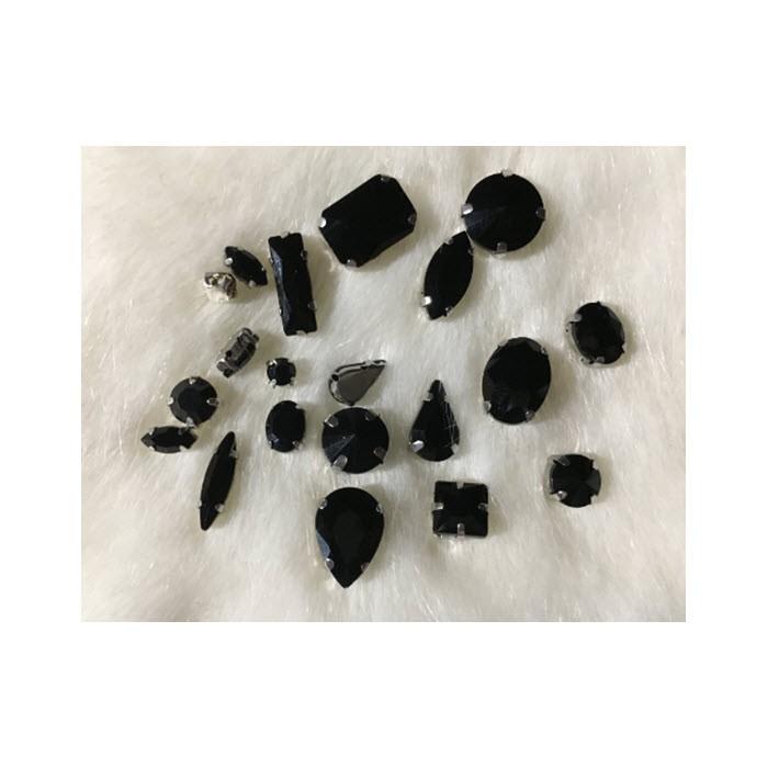 DT-MIX63  Prisiuvamų kristalų-intarpų MIX, (nuotraukoje) JUODOS sp.