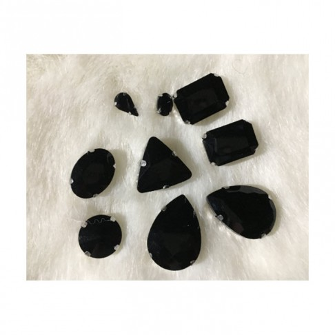 DT-MIX61  Prisiuvamų kristalų-intarpų MIX, (nuotraukoje) JUODOS sp.