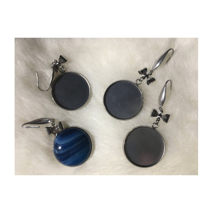 7-NP52219  Ruošinys auskarams, nerūdyjančio plieno, tinka apie 25mm kabošonai