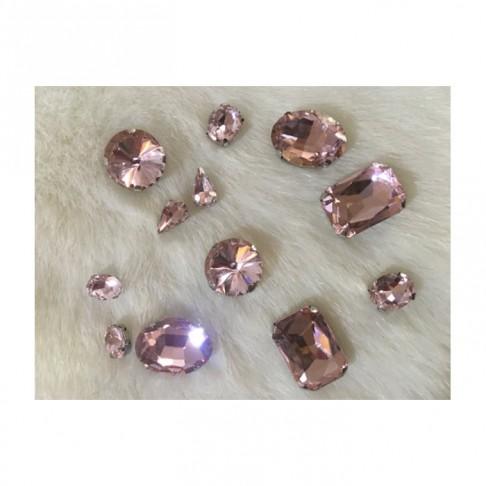 KRS-7MIX   Prisiuvamų kristalų-intarpų MIX, (nuotraukoje) VINTAŽ ROŽINĖ