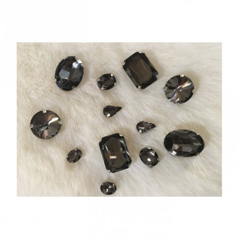 KRS-10MIX   Prisiuvamų kristalų-intarpų MIX, (nuotraukoje) TAMSI DEIMANTO sp.