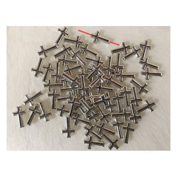 "7-60607  Metalinis karoliukas, ""Kryželis"", 16x10mm"