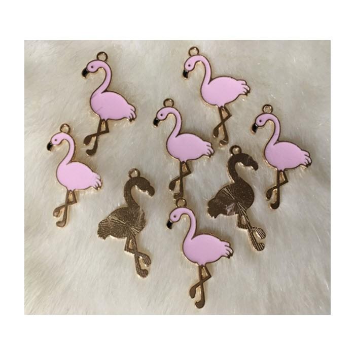 """AUK-EM2522 Emaliuotas pakabukas """"Rožinis flamingas"""", 35x20mm"""