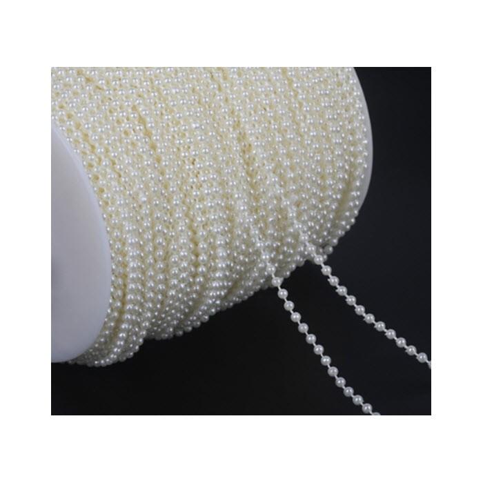 J-AKR771  Akrilinių perliukų virvutė-juostelė, 3mm,  už 2.5metrų
