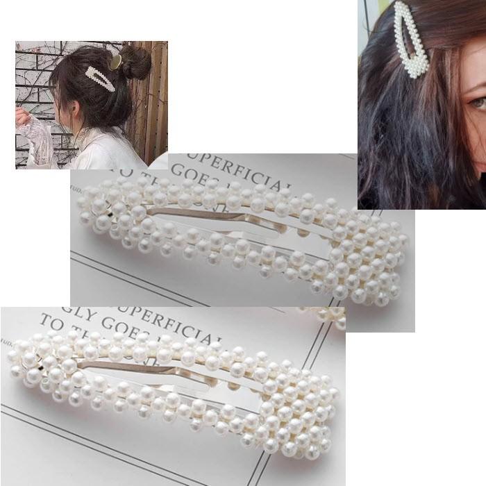 SG-6541 Segtukas plaukams, iš perliukų, apie 9 cm, BALTAI kreminis