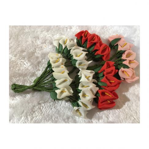 G-KA4  Mulberry gėlytės, 1 puokštelė (12 vnt.), ŠV.,RAUSVOS