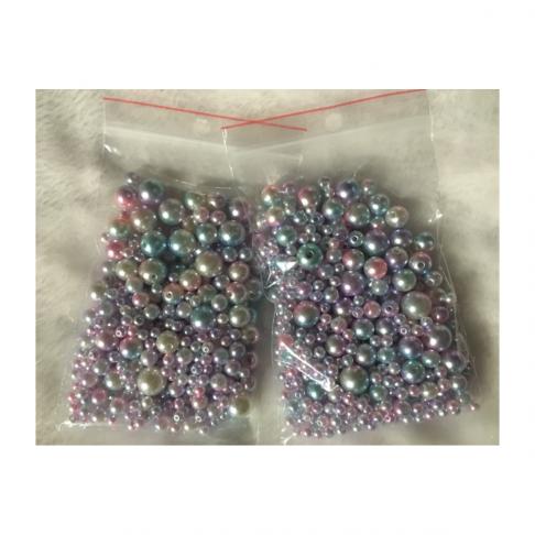 PER-SK28881 Akrilinių perliukų mix, 4-6-8-10mm, apie 350vnt., Žydrai-Rožiniai