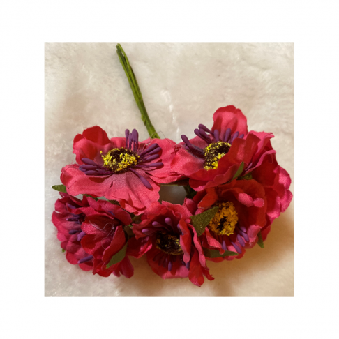G-2B4401 Dirbtinės gėlytės, 6vnt,( apie 4cm), RAUDONOS/ROŽINĖS