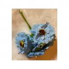 G-2B4403 Dirbtinės gėlytės, 6vnt,( apie 4cm),ŽYDRA