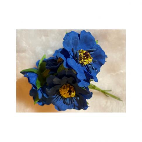 G-2B4404 Dirbtinės gėlytės, 6vnt,( apie 4cm), MĖLYNOS