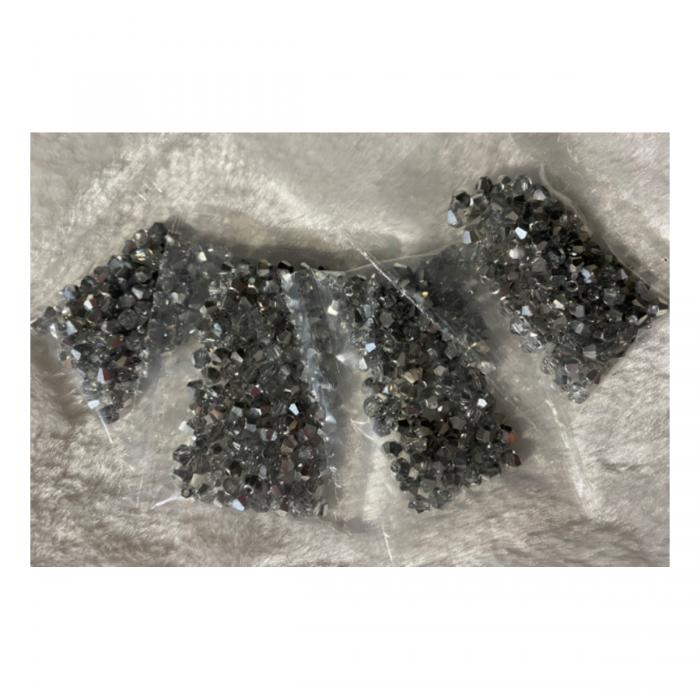 KR-KA142 kristalo karoliukai, 4mm, apie 100, Skaidri-SIDABRO sp.