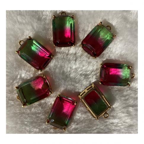 KR-D6227  Kristalo pakabukas, 18x13mm, 1 vnt, RAUSVAI-ŽALSVAS